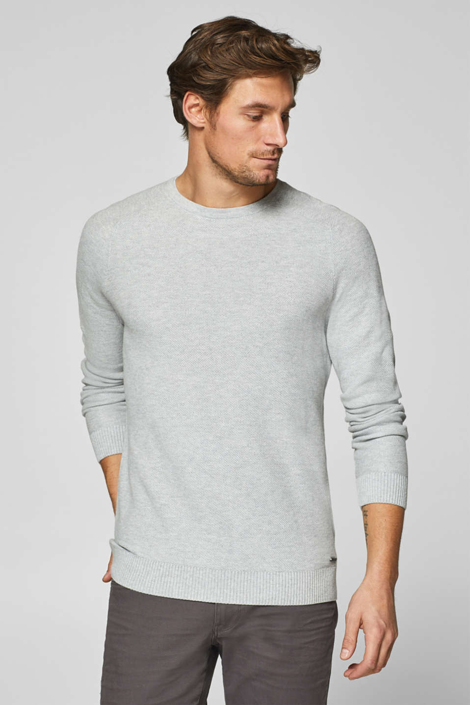 Esprit - Jumper with a honeycomb texture, 100% cotton