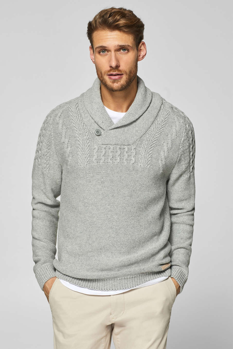 Esprit - Containing wool: cable pattern jumper