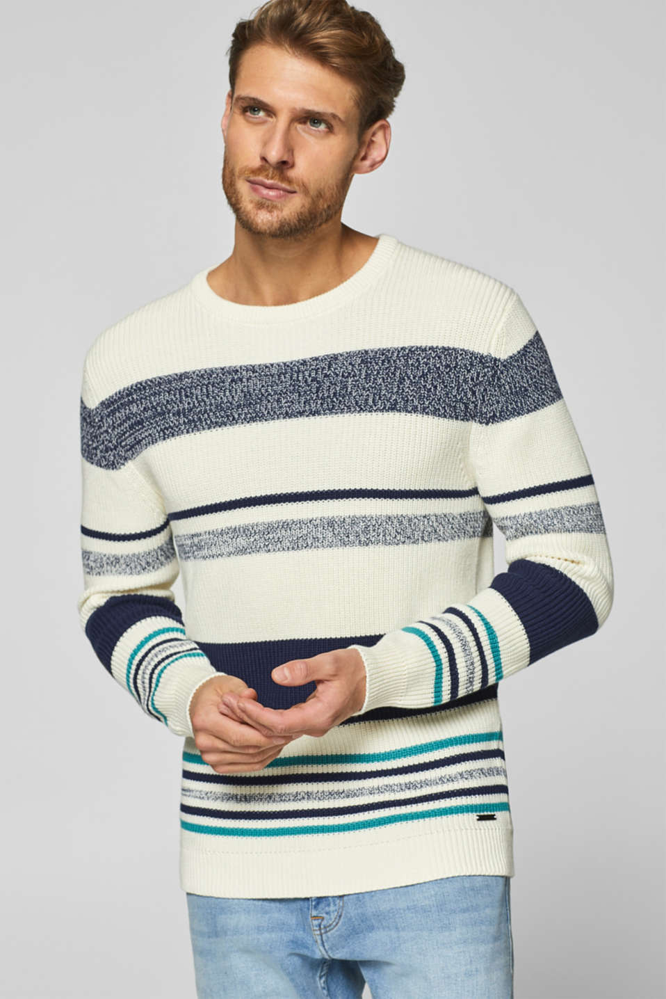 Esprit - Jumper with stripes in 100% cotton