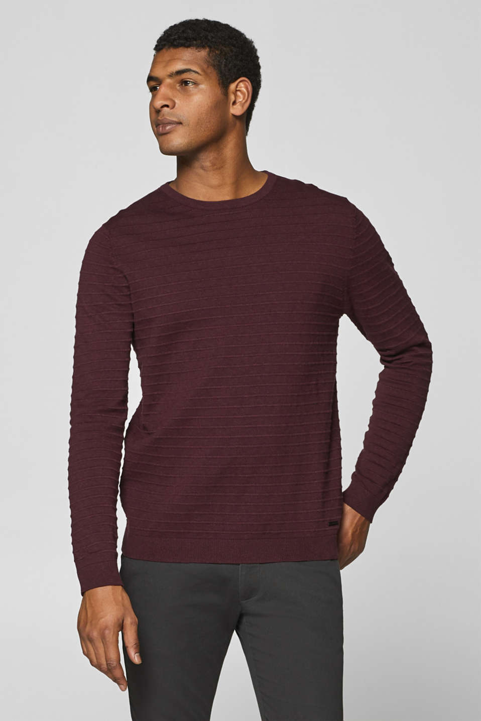 Esprit - Textured stripe jumper, 100% cotton