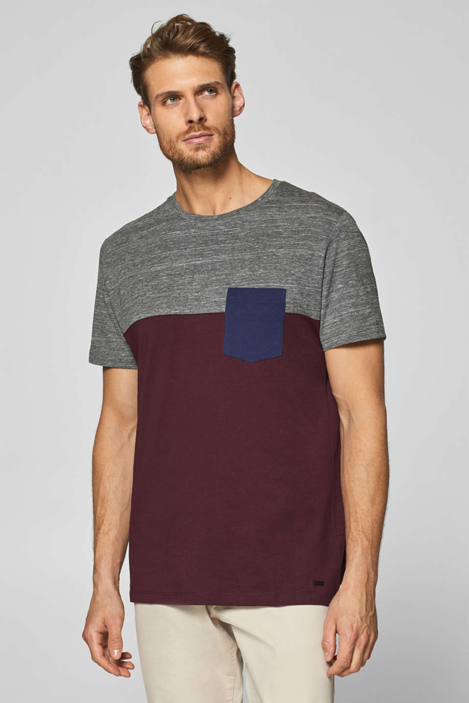 Esprit - Jersey-Shirt mit Color Block-Elementen