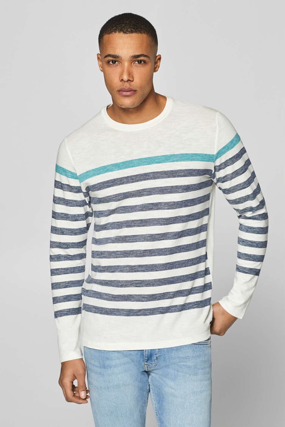 Esprit - Jersey long sleeve top with stripes, 100% cotton