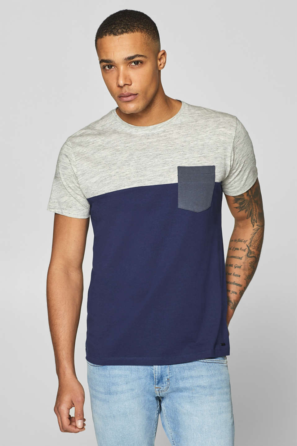 Esprit - Jersey T-shirt with colour block elements