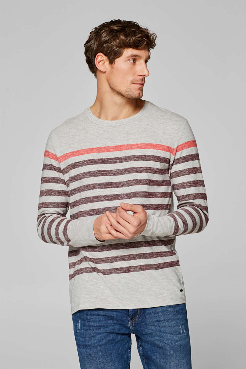Esprit - Striped long sleeve top in melange jersey