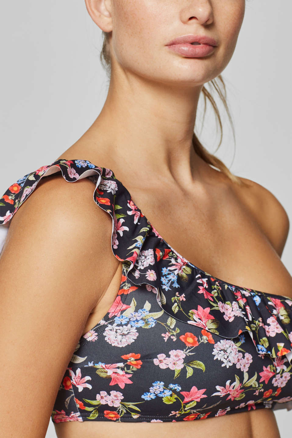 Padded one-shoulder top with a print and flounce, DARK GREY, detail image number 3