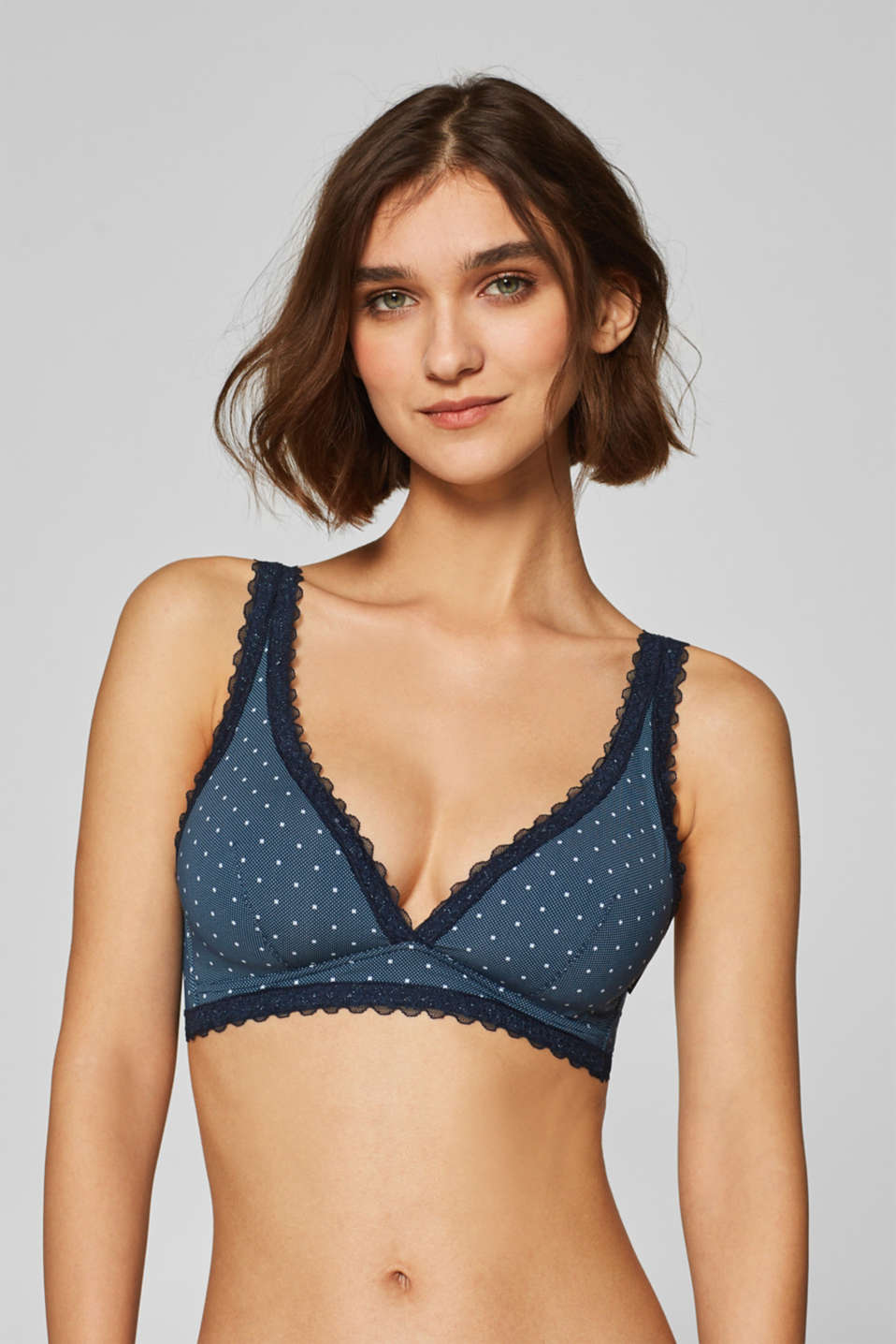 Esprit - Padded non-wired bra with print and lace