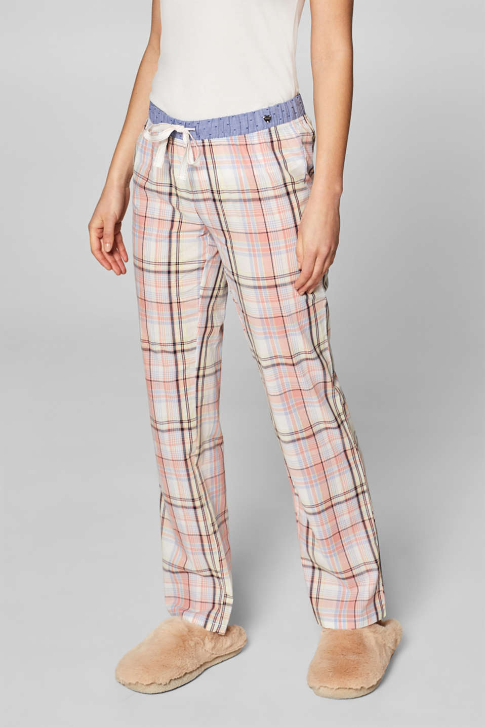 Esprit - Fabric bottoms with colourful checks, 100% cotton