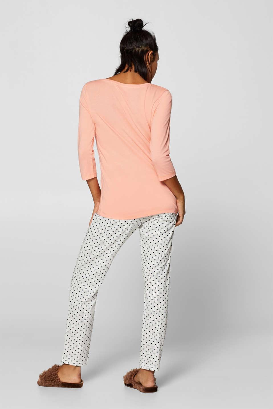 Printed jersey pyjamas, 100% cotton, OFF WHITE, detail image number 1