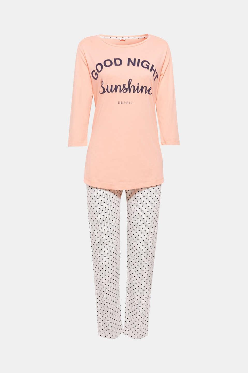 Printed jersey pyjamas, 100% cotton, OFF WHITE, detail image number 4