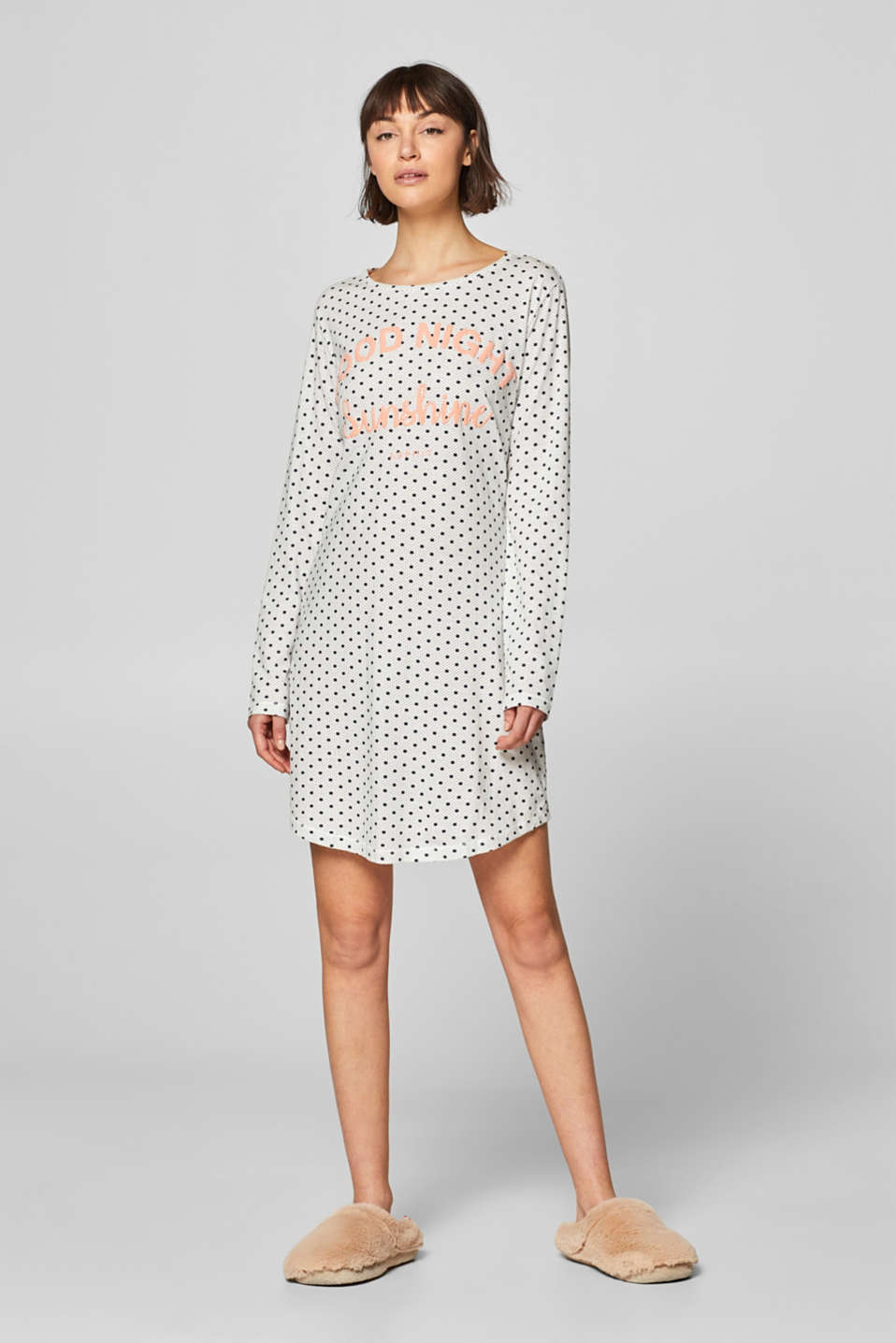 Esprit - Jersey nightshirt with a print, 100% cotton
