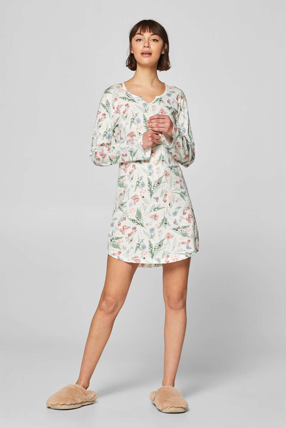 Esprit - Jersey nightdress with a floral print, 100% cotton