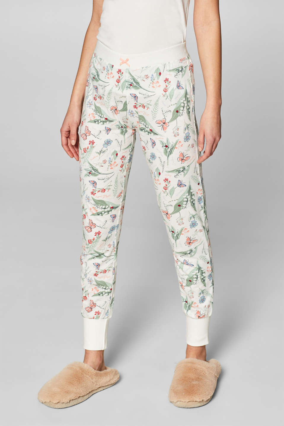 Esprit - Jersey bottoms with a floral print, 100% cotton