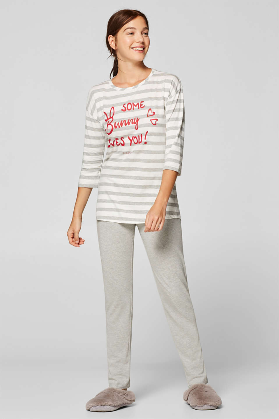Esprit - Jersey pyjamas with stripes and a statement print