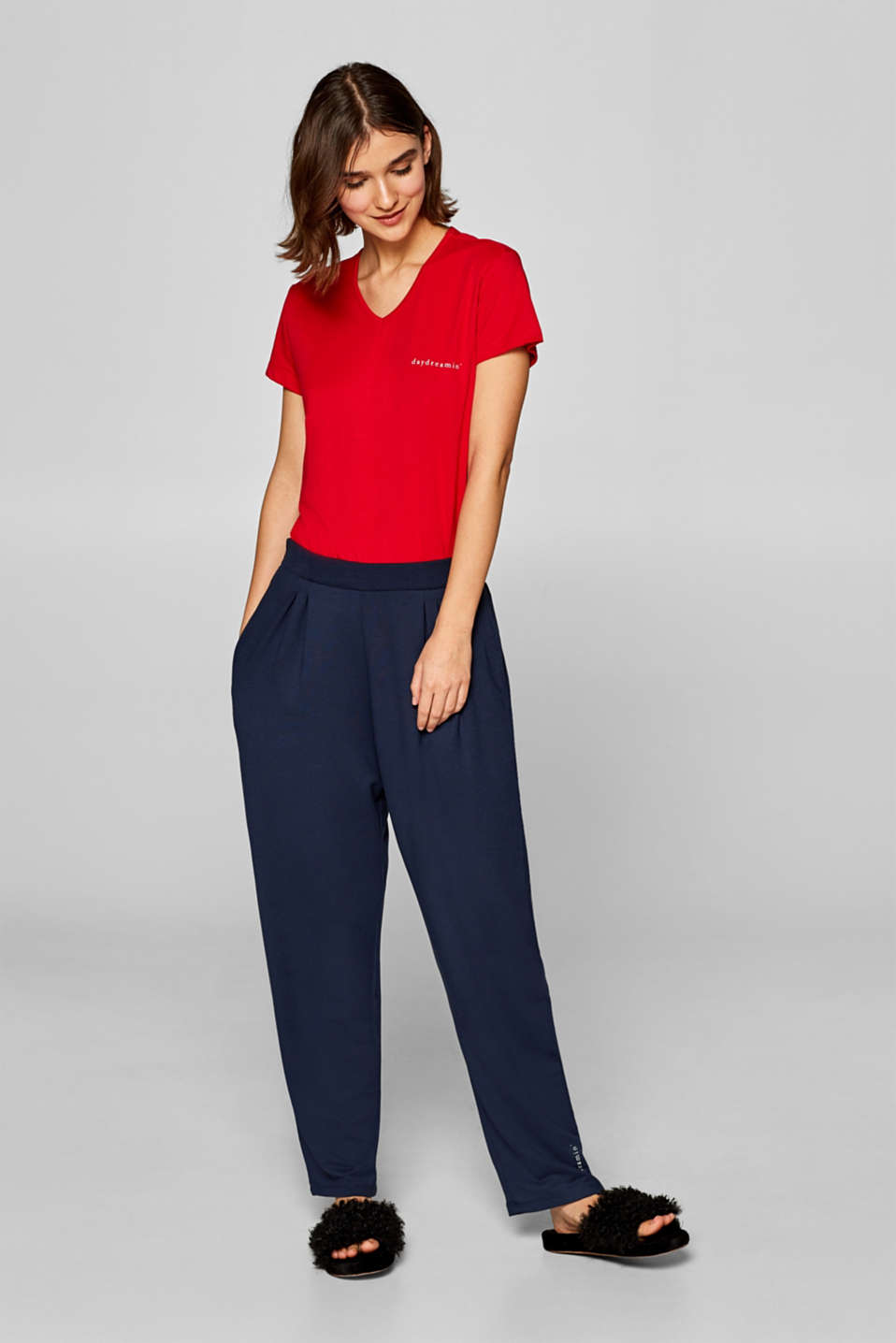 Oversized trousers in thick stretch jersey, NAVY, detail image number 0