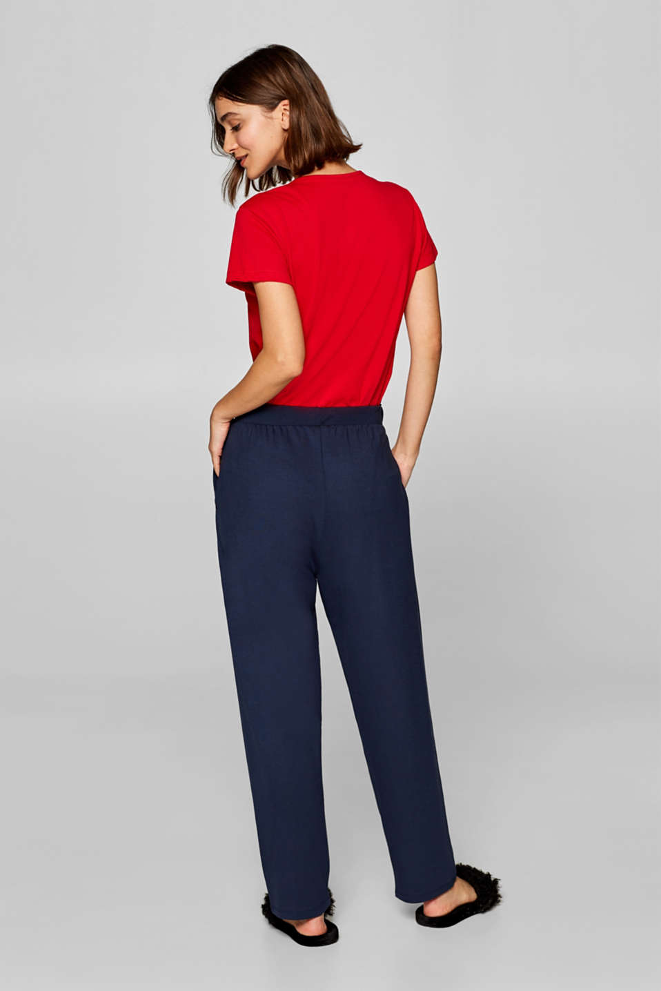 Oversized trousers in thick stretch jersey, NAVY, detail image number 2