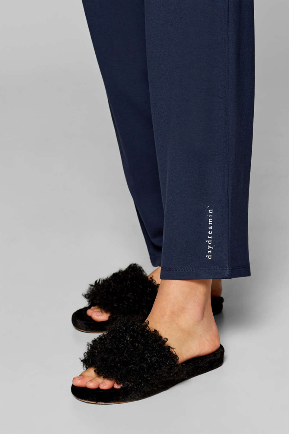 Oversized trousers in thick stretch jersey, NAVY, detail image number 1