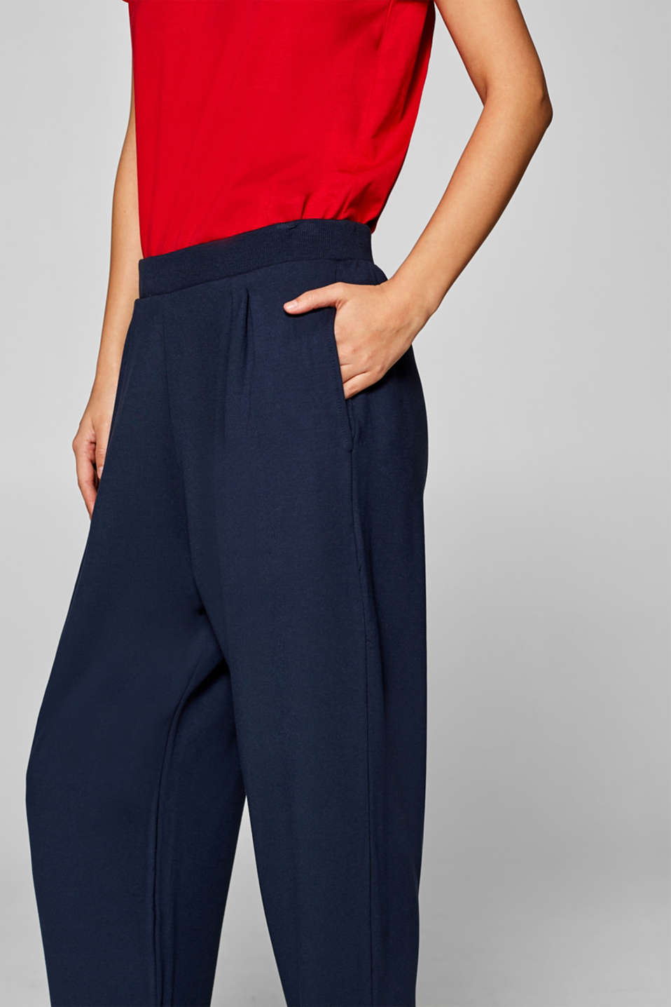 Oversized trousers in thick stretch jersey, NAVY, detail image number 3