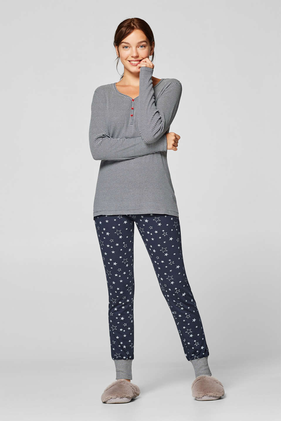 Esprit - Jersey pyjamas with stripes and stars