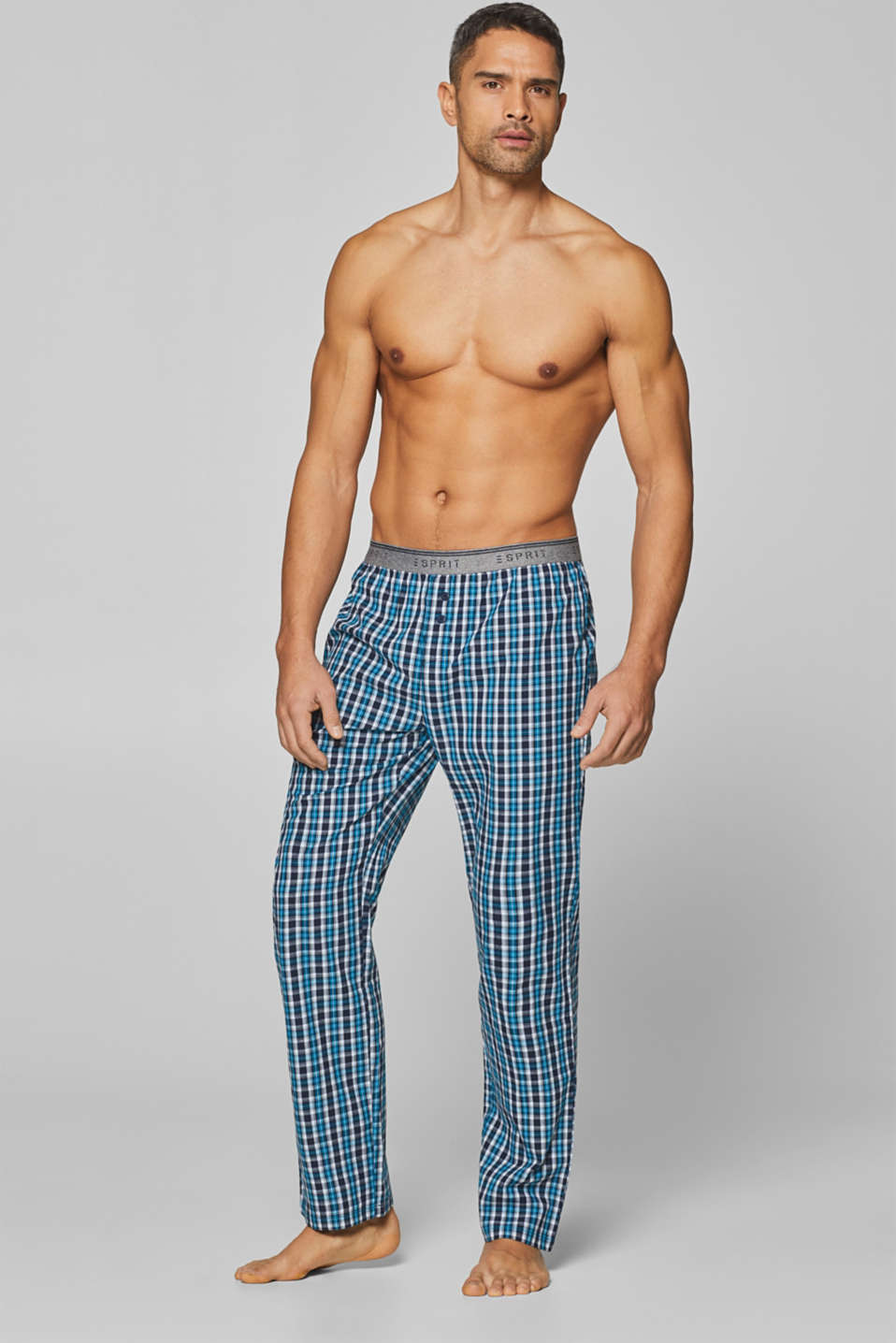 Esprit - Woven trousers with a logo waistband, 100% cotton
