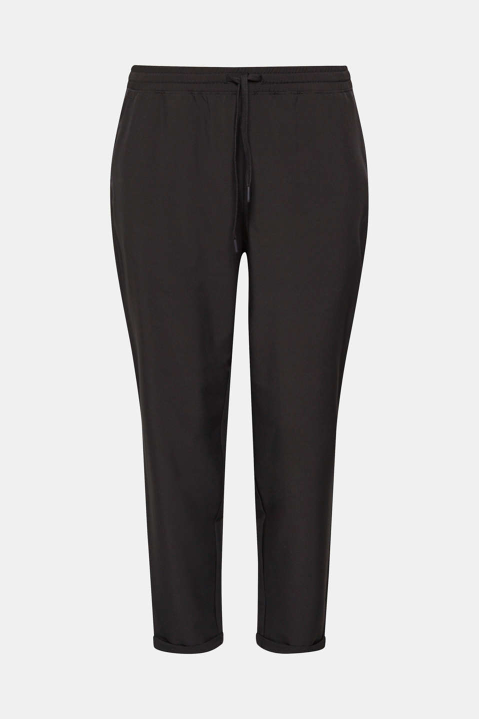 Lightweight woven trousers with turn-up hems, E-DRY, BLACK, detail image number 6