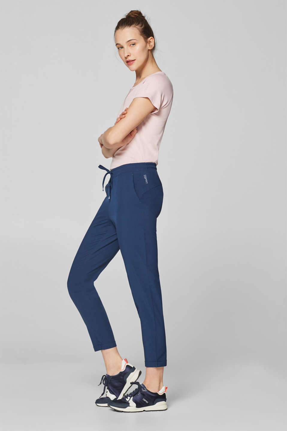 Lightweight woven trousers with turn-up hems, E-DRY, NAVY, detail image number 0