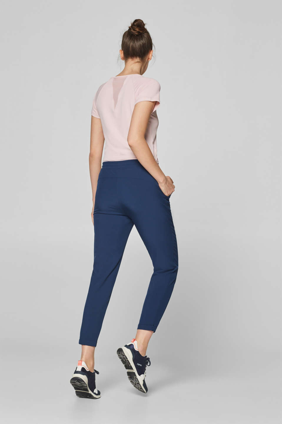 Lightweight woven trousers with turn-up hems, E-DRY, NAVY, detail image number 2