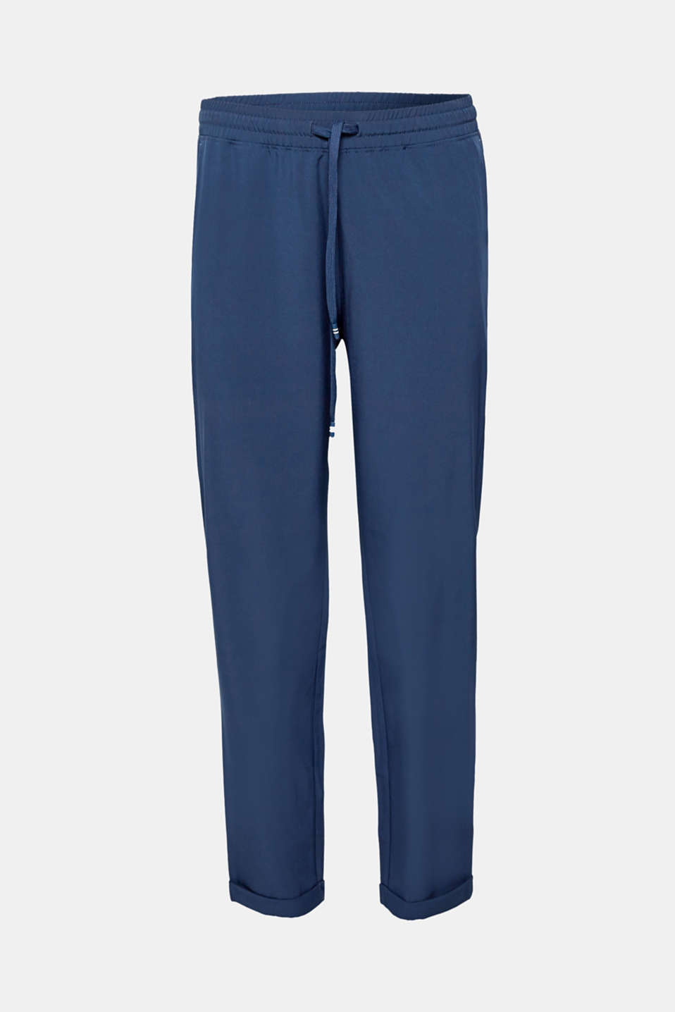 Lightweight woven trousers with turn-up hems, E-DRY, NAVY, detail image number 5