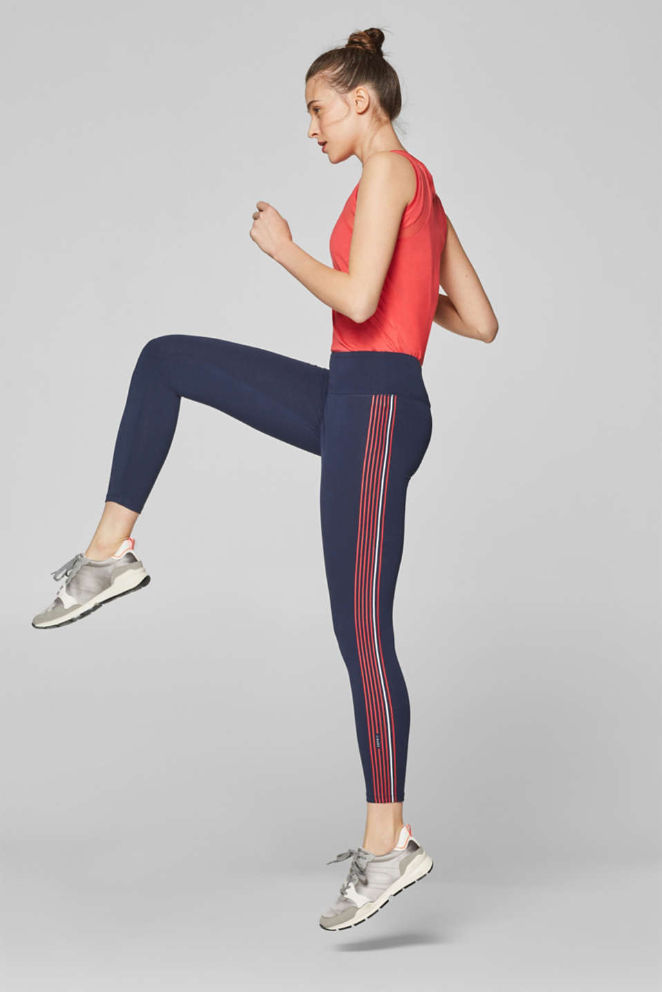 Esprit - Stretch cotton leggings with a striped print