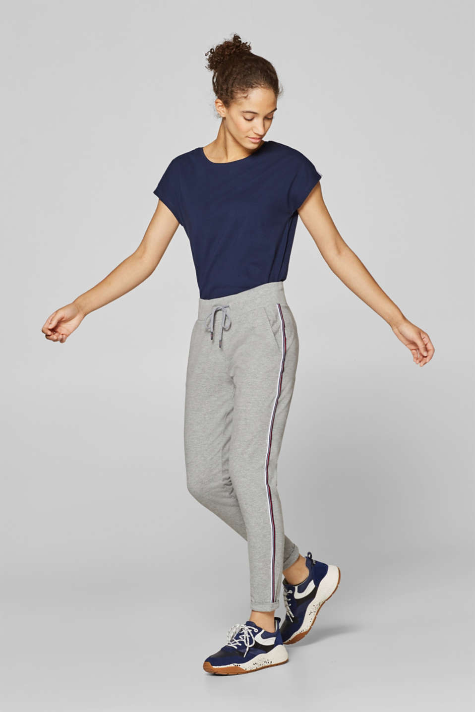 Esprit - Melange tracksuit bottoms with woven tape stripes