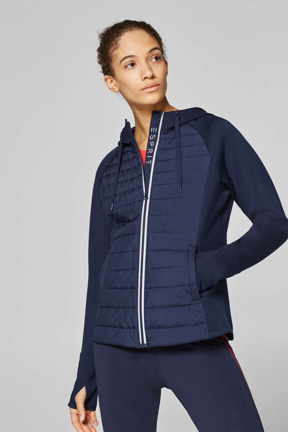Esprit - Padded hooded jacket in a material mix