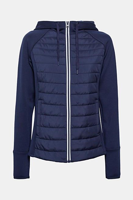 Wattierte Kapuzen-Jacke aus Material-Mix. Blau NAVY. highlight 8820497da9