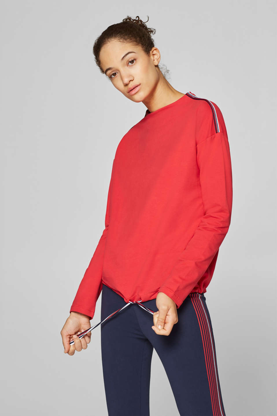 Esprit - Lightweight sweatshirt with stretch and woven tape decoration