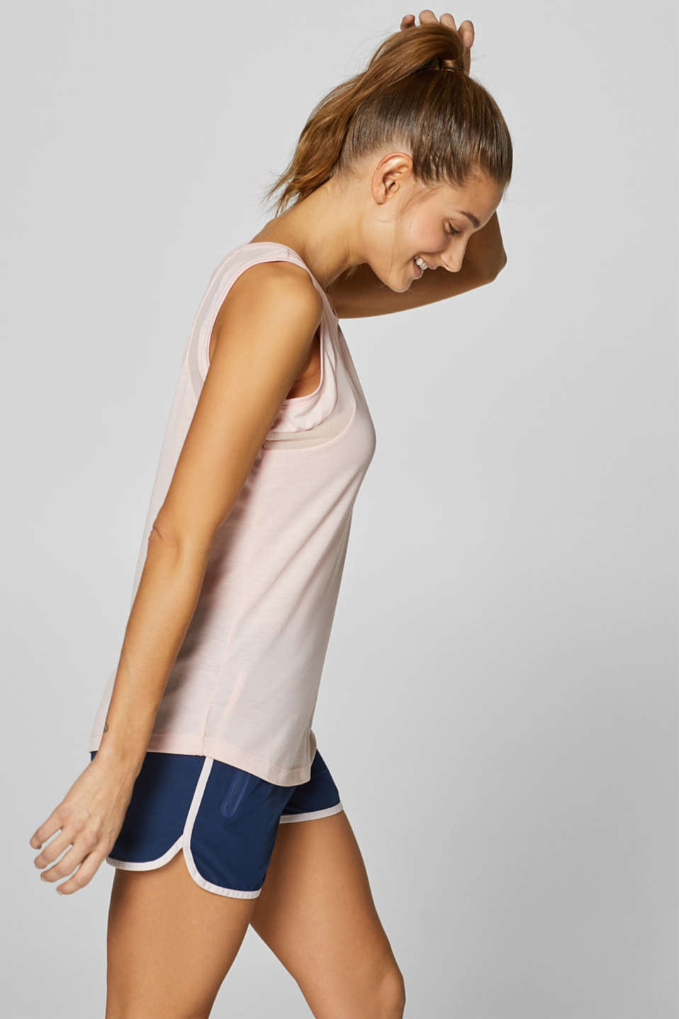Esprit - Top in jersey con inserti in mesh