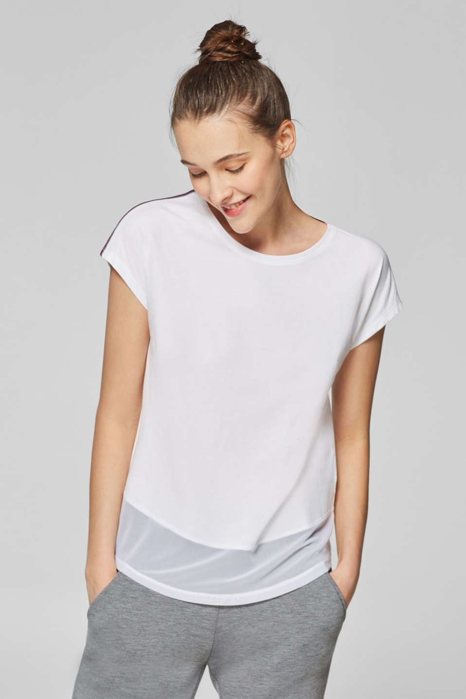 Esprit - Cotton top with a sheer mesh hem