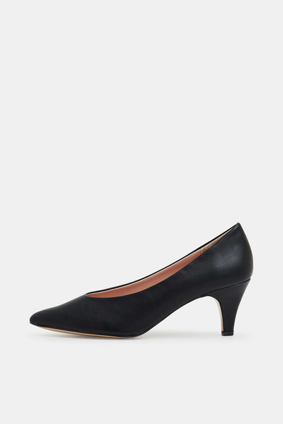 Faux leather court shoes, BLACK, detail image number 0