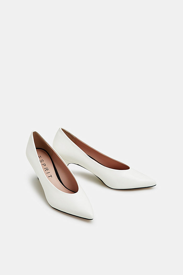 Faux leather court shoes, WHITE, detail image number 1