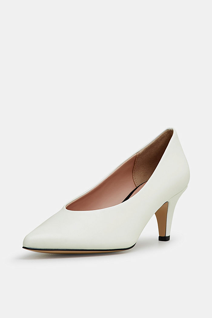 Faux leather court shoes, WHITE, detail image number 2