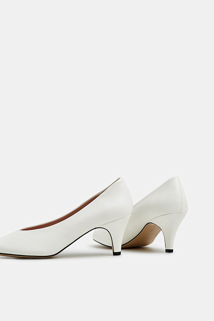 Faux leather court shoes, WHITE, detail image number 4