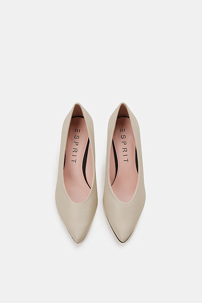 Faux leather court shoes, LIGHT BEIGE, detail image number 1