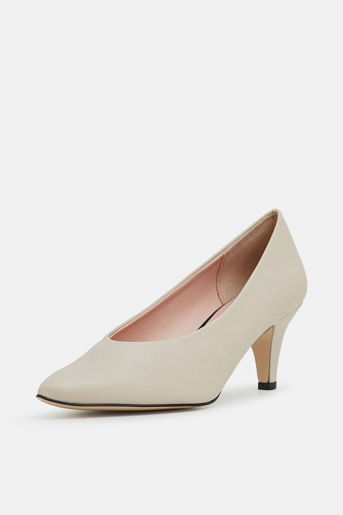 Faux leather court shoes, LIGHT BEIGE, detail image number 2