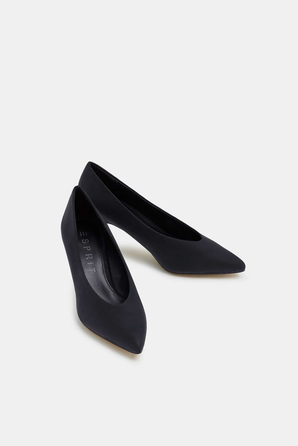 Imitation nubuck court shoes, BLACK, detail image number 6