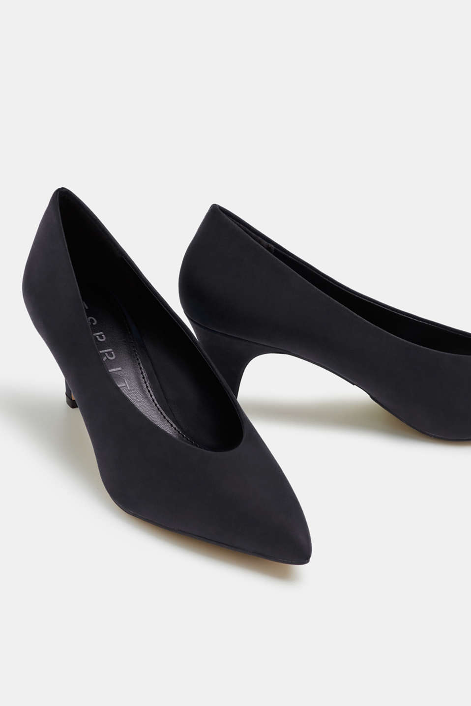 Imitation nubuck court shoes, BLACK, detail image number 4