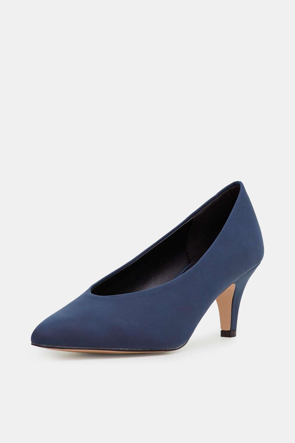 Imitation nubuck court shoes, NAVY, detail image number 2