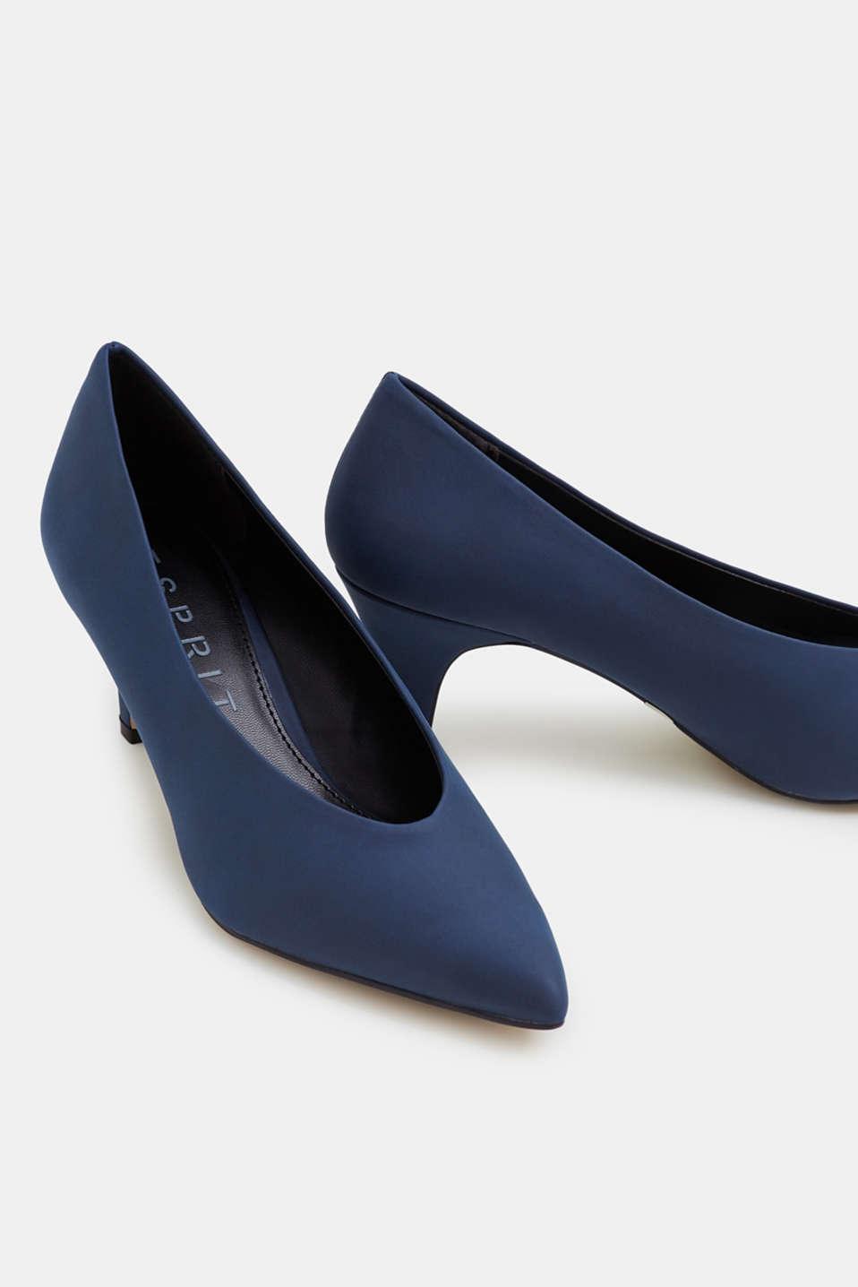 Imitation nubuck court shoes, NAVY, detail image number 4