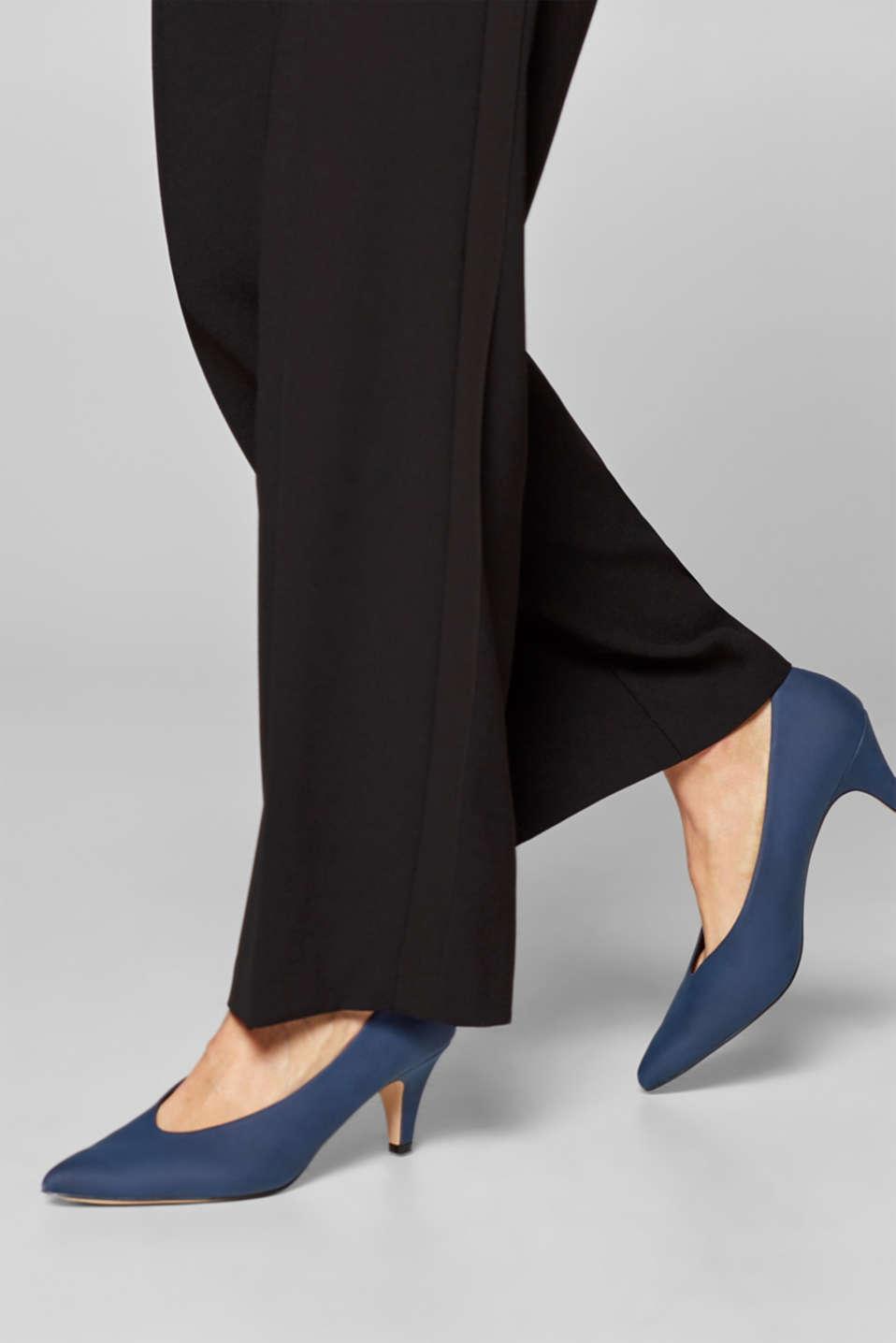 Imitation nubuck court shoes, NAVY, detail image number 3