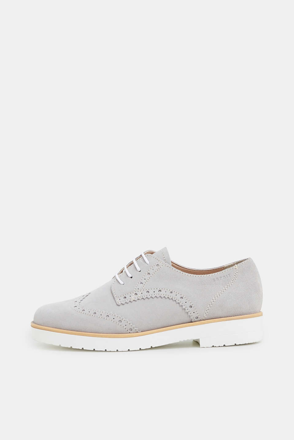 Esprit - Lace-up shoe with a brogue pattern, made of leather