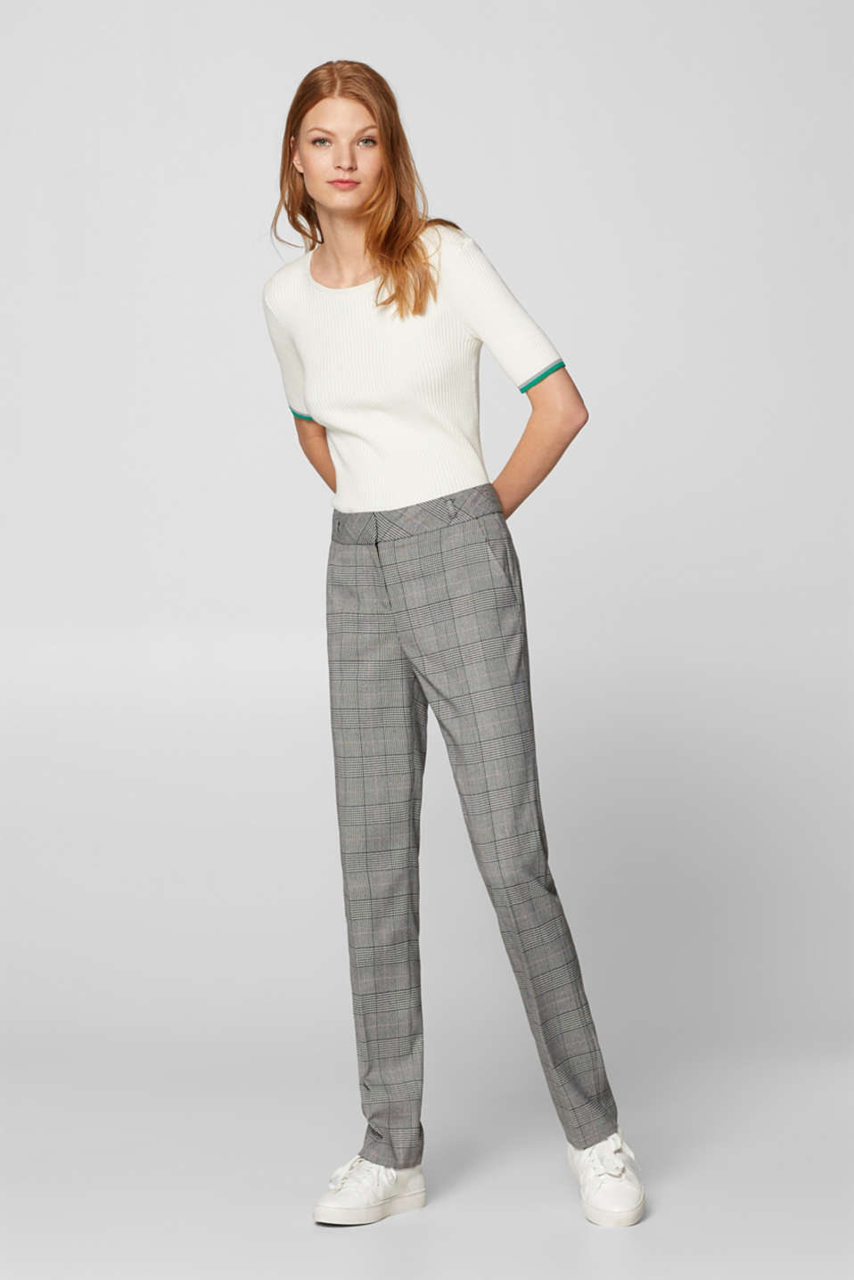 Esprit - CHECK mix + match trousers with stretch