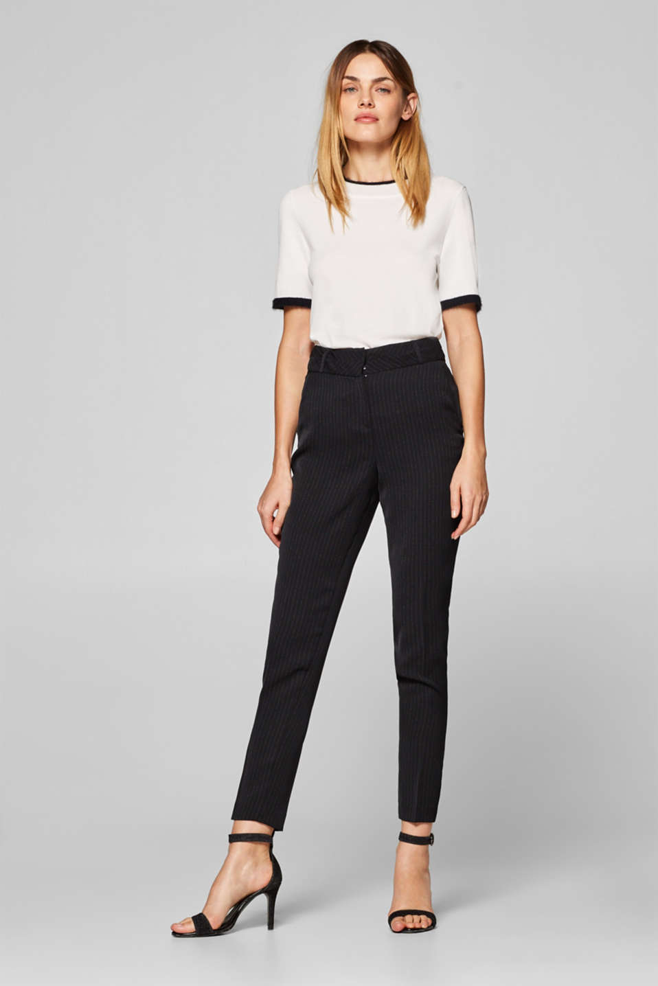 Esprit - PINSTRIPED Mix + Match trousers with a high-rise waist