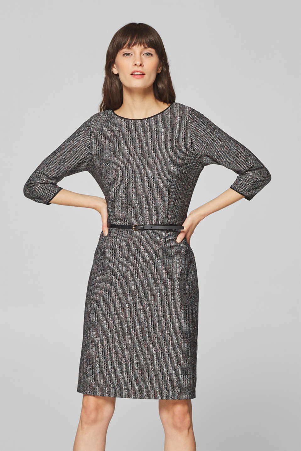 Esprit - Belted sheath dress made of multi-coloured jersey