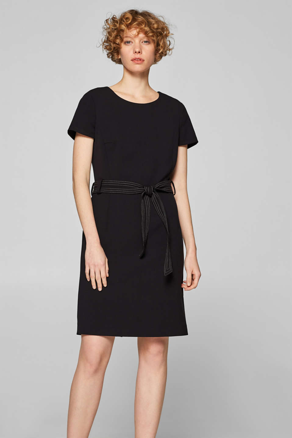 Esprit - Sheath dress with stretch and tie-around belt